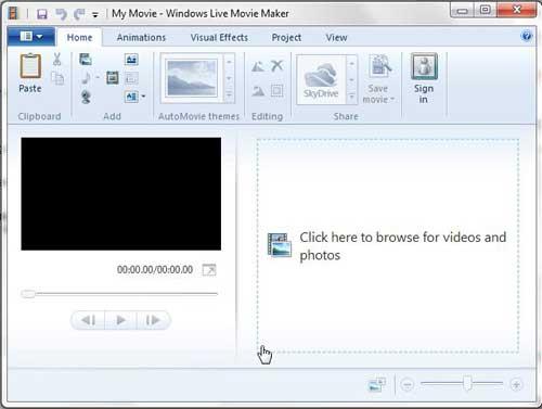 запустите Windows Live Movie Maker, затем выберите ваше видео