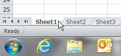 выберите лист Excel