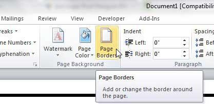 нажмите кнопку границы страницы на вкладке макета страницы слова