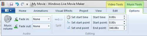 меню музыкальных инструментов в Windows Live Movie Maker