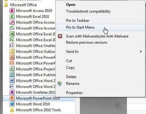 Как добавить ярлык в меню «Пуск» в Windows 7