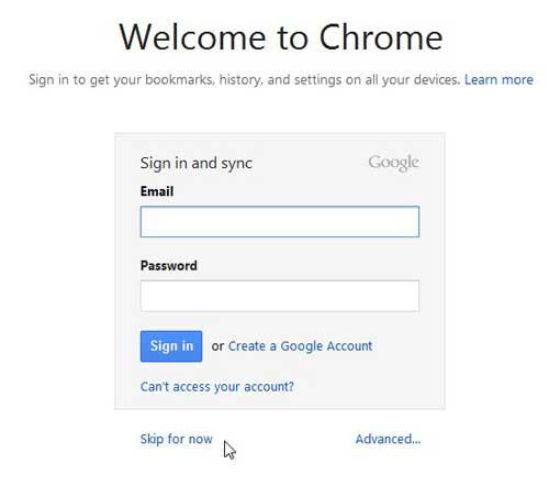 введите данные учетной записи Google