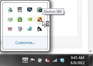 системный трей norton 360