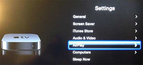 Выберите опцию AirPlay