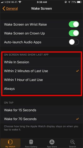 выберите, как долго часы Apple открываются в приложении после последнего использования
