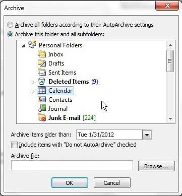 заархивируйте календарь Outlook 2010, выбрав предпочтительные параметры архивации