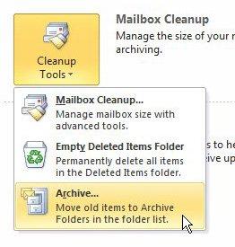как архивировать старые письма в Outlook 2010