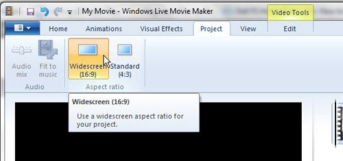 Выберите желаемое соотношение сторон Windows Live Movie Maker