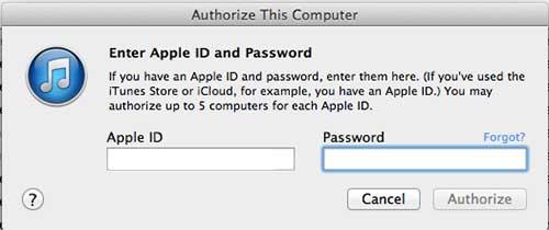 введите свой идентификатор Apple и пароль