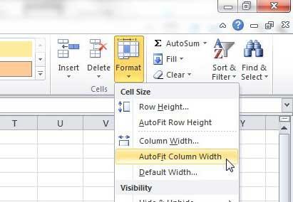 Как сделать так, чтобы столбцы автоматически расширялись в Excel 2010