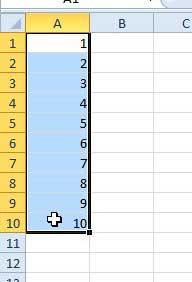 выберите клетки для усреднения в Excel 2010