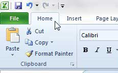 Домашняя страница Excel 2010