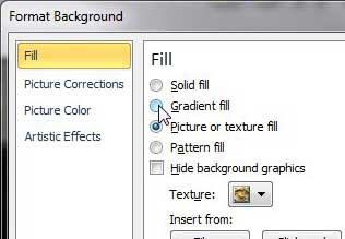 как использовать градиент в качестве фона в PowerPoint 2010