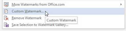 Выберите опцию Пользовательский водяной знак