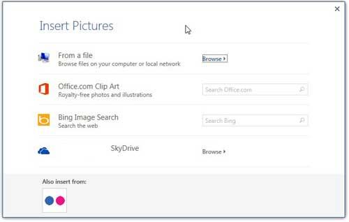 Выберите местоположение изображения, которое вы хотите использовать