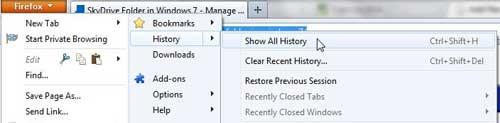 откройте окно истории Firefox