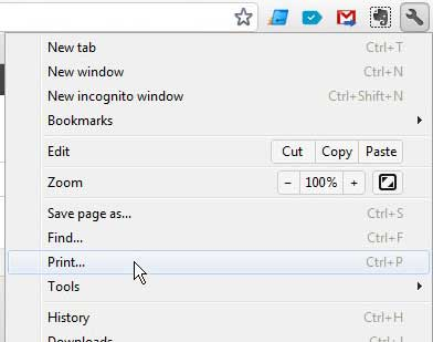 открыть меню печати Chrome