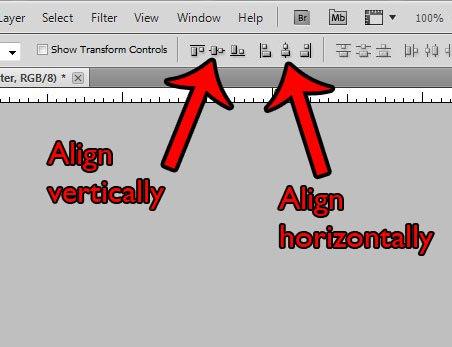 выровнять по вертикали или горизонтали слои в Photoshop CS5