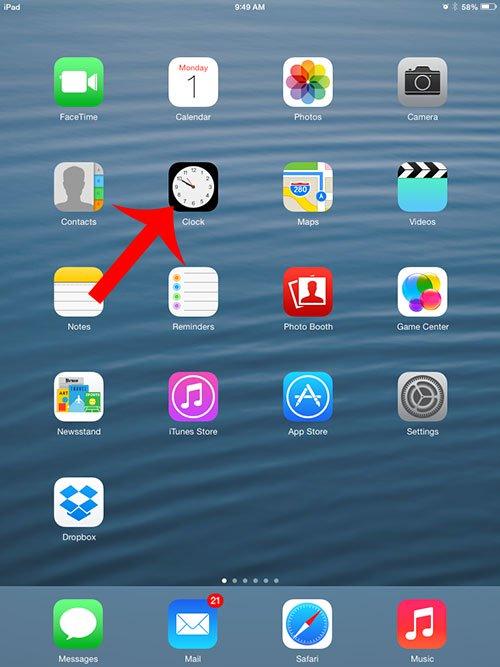 Как изменить время на будильнике на iPad 2