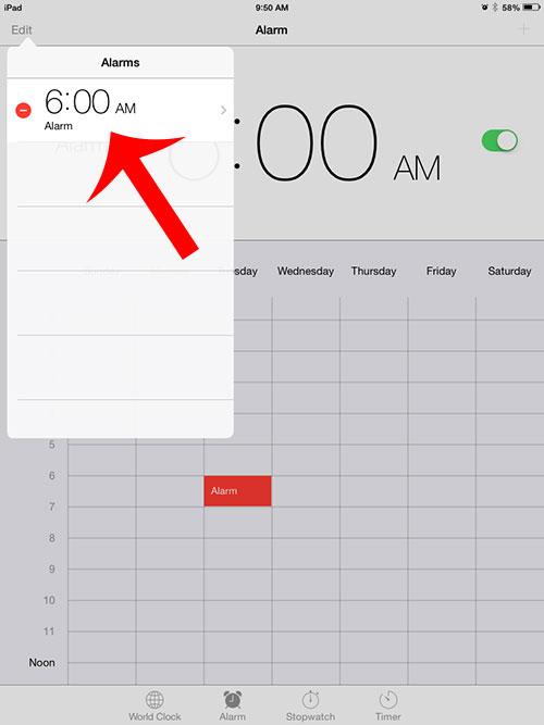 выберите будильник для изменения