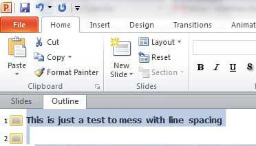 выделите весь текст на слайдах PowerPoint