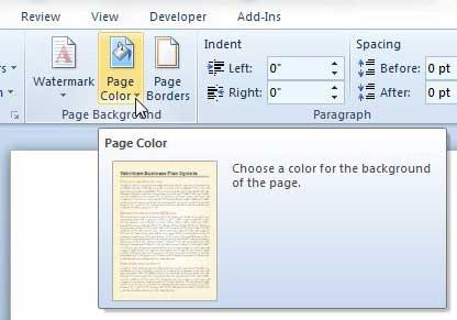 раскрывающееся меню цвета страницы