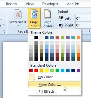 Как изменить цвет фона в Word 2010