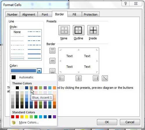 выберите цвет границы ячейки Excel 2010