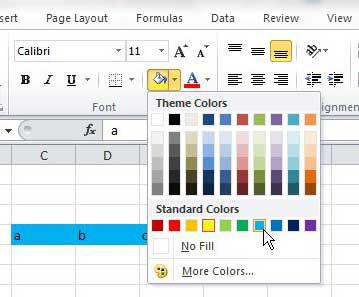 как изменить цвет заливки ячейки в Excel 2010