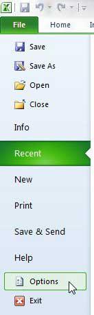 открыть меню параметров Excel 2010