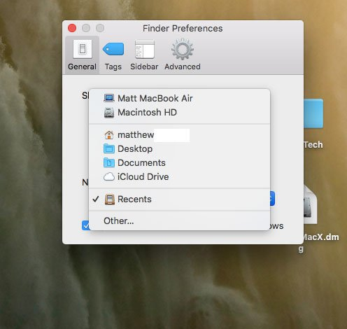 как изменить местоположение искателя на Mac