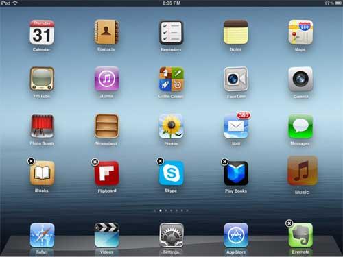 войдите в режим редактирования иконок на вашем Ipad