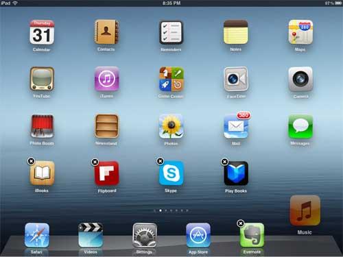 как изменить значки в нижней части экрана Ipad
