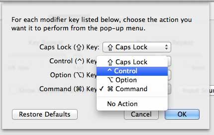 Установите действие для клавиши Command