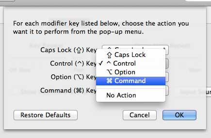 Установите действие для клавиши управления
