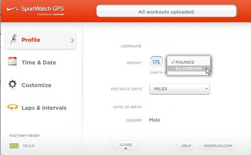как изменить свой вес на часах Nike GPS