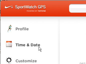 Nike Connect экран времени и даты