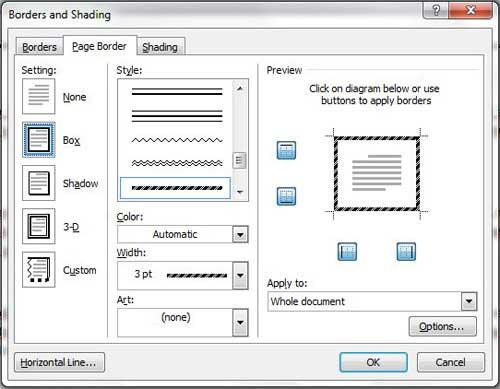 используйте меню границ и затенения, чтобы выбрать параметры границы страницы