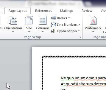 выберите вкладки макета страницы, чтобы внести изменения в настройки границы страницы Word 2010
