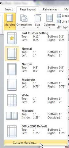 выберите размер поля для вашего документа Word 2010