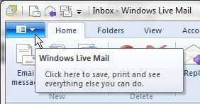 вкладка почты Windows Live