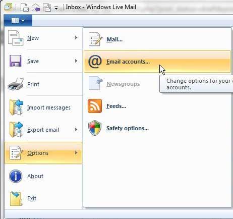 меню учетных записей электронной почты