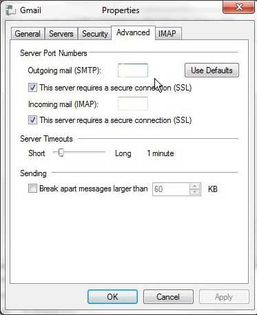 как изменить настройки порта в Windows Live Mail