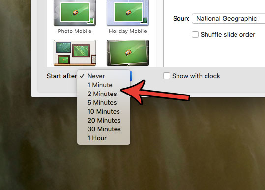 установить период бездействия перед заставкой Mac