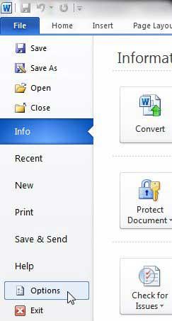 Кнопка опций Word 2010
