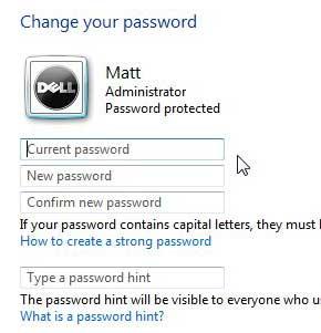 как сменить пароль windows 7