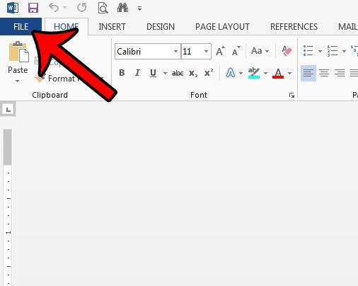 вкладка файла Word 2013