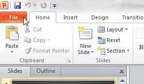 вкладка файла Powerpoint 2010