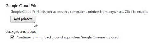 как включить облачную печать Google Chrome