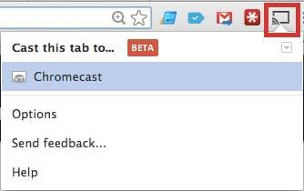нажмите кнопку приведения, затем выберите опцию Chromecast